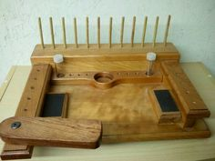 Mike Elrod / Cherry fly tying bench with walnut swing arm for clamp vise