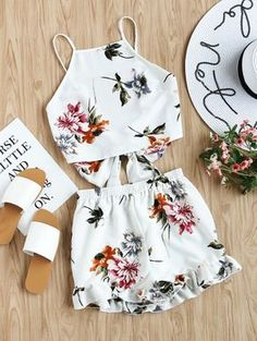 women set on sale at reasonable prices, buy SHEIN Two Piece Set Top and Shorts Summer 2017 Womens Set White Floral Sleeveless Tie Back Cami Top and Ruffle Trim Shorts from mobile site on Aliexpress Now! Style Outfits, Mode Outfits, Casual Outfits, Fashion Outfits, Womens Fashion, Cami Tops, Two Piece Outfit, 2 Piece Romper, Cute Summer Outfits