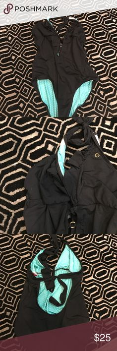 Black guess one piece bathing suit As shown. No rips or stains. Fits womans large Guess Swim One Pieces