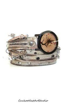 Rusty Looking Wrap Watch Womens leather by CuckooNestArtStudio