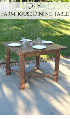 Build your own X Base Square Farmhouse Dining Table with these simple free plans from Bitterroot DIY. #farmhousediningroom #farmhousetable #modernfarmhousetable #beginnerwoodworking #farmhousekitchen