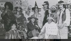 """""""1974 Halloween w/ the G. Harrison Band"""" during the Dark Horse Tour.  Photo © Tom Scott (tomscottmusic.com)  """"""""George was really good at breaking the ice."""" - Tom Scott, A Rolling Stone Tribute To George Harrison [x]  """""""