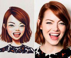 Famous people as realistic cartoon by Lera Kiryakova