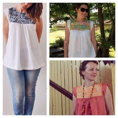 Featuring beautiful contrast yokes, we've seen some gorgeous Alice Tops around the (virtual) town. Left is sewn by @littlemissgeeshop, top right @rachelboodogg and bottom right @bloglessanna. #tessutifabrics #alicetop #tessutipatterns Tessuti Fabrics