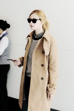 Nana (After School) | Trench Coat, Sweater & Collared Shirt Combo.