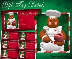"Gingerbread Girl ""Honeypot"" Gift Tag Labels - Digital Download by DinkyPrints"