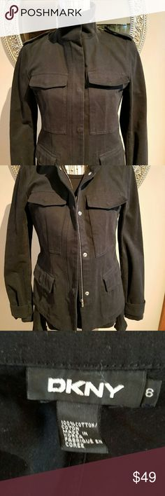 DKNY Casual Chic Black Jacket This is a terrific and versatile black jacket that can be worn with anything. It is in GUC. It looks great opened or closed. I think that the high collar makes this jacket timeless and smart. 100% Cotton. DKNY Jackets & Coats