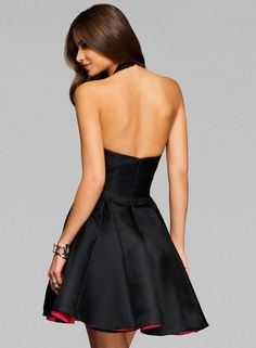 7cef50add0 Princess Halter V Neck Sleeveless Backless Short Party Dress novashe.com  Satin Dresses