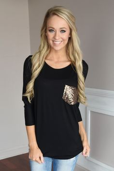 Glam Pocket Top - Black – The Pulse Boutique