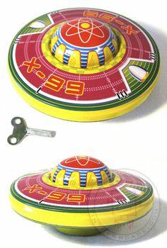 Neptune Flying Saucer : 1950 Classic Tin Wind Up Toy : Modern Toys Masudaya Japan $12.98