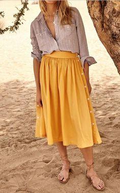 Side Button Skirt   Madewell