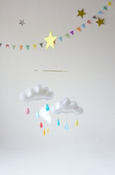 Rain Cloud Mobile for Nursery CIRCUS with yellow by leptitpapillon, $58.00