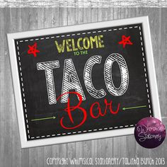 Taco Bar Party Food Table Sign (Printable File Only); Printable Party Signs; Party Signs Framable DIY