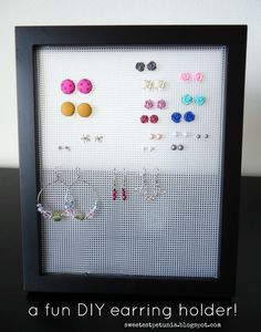 The Sweetest Petunia: organize your earrings {a DIY project} - Boucles Doreilles Stud Earring Organizer, Diy Earring Holder, Earring Storage, Diy Jewelry Holder, Jewellery Storage, Necklace Holder, Petunia, Organizing Hair Accessories, Diy Earrings