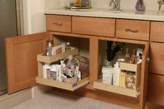 build pull out shelves for our bathroom vanity until i can get my new ikea sink