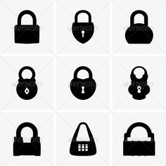 Padlocks ...  closed, icon, illustration, key, lock, metal, object, padlock, protection, safety, security, set, vector