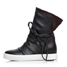 Chiko Lorena Leather Rope Tie Up High Top Fashion Sneakers ($116) ❤ liked on Polyvore featuring shoes, sneakers, roper shoes, leather shoes, roper footwear, leather footwear and real leather shoes