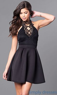Shop high-neck holiday party dresses at Simply Dresses. Cheap short semi-formal party dresses under $100 with lace accents and spaghetti straps.