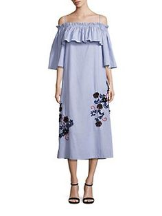 SUNO - Embroidered Off-the-Shoulder Pinstriped Flare Dress