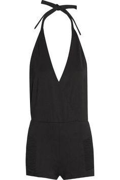 Want want want ! Wrap-effect stretch-jersey halterneck #playsuit playsuit #allinone #offduty #covetme #pierrebalmain