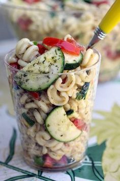Cold Tomato Zucchini Pasta Salad with Sherry Shallot Vinaigrette
