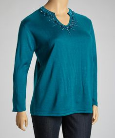 Take a look at this Teal Embellished V-Neck Sweater - Plus by Jenny on #zulily today!