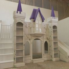 The San Marcos Castle Bunk Bed is truly one of our favorites. It holds two twin mattresses - one above and one below. Designed by Tanglewood Design Castle Beds For Girls, Bed For Girls Room, Big Girl Rooms, Kids Bedroom, Bedroom Ideas, Safe Bunk Beds, Cool Bunk Beds, Kids Bunk Beds, Bunk Bed With Slide