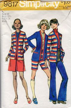 Simplicity 9817 1970s  Misses  Cardigan Mini Skirt Pants in 2 Lengths vintage sewing pattern by mbchills,