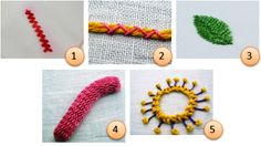 TUTORIALS: (1)Spanish knotted feather stitch (2)Couching variations (3)Cretan stitch (4)Casalguidi stitch (5)Inside-out buttonhole wheel flowers