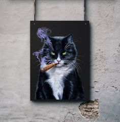 "Wallarts, Wall Decor, House Interior Decor, Gift for dad, Gift for him, ""Dreadful Cat Smoking Cigar with Piercing Green Eyes"" Poster"