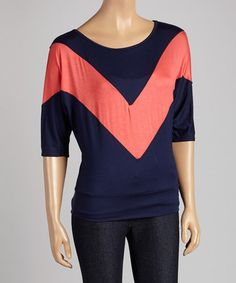Another great find on #zulily! Navy & Coral Chevron Top by J-MODE #zulilyfinds