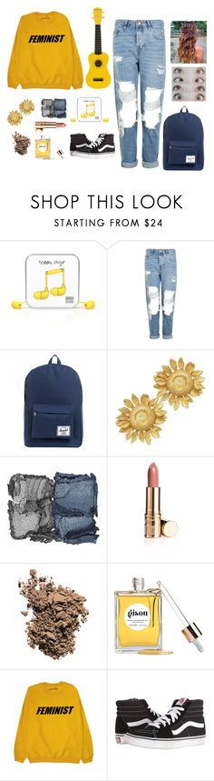 """House of Gold #2"" by thirty-one-flight-attendants ❤ liked on Polyvore featuring Happy Plugs, Topshop, Herschel Supply Co., Asprey, NARS Cosmetics, Dolce&Gabbana, Gisou by Negin Mirsalehi, Vans and houseofgold"