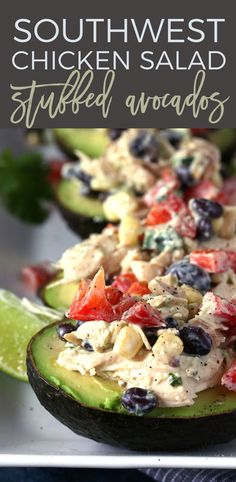 This southwest chicken salad stuffed avocado recipe is perfect for dinners or lunches! Use rotisserie chicken to whip up this healthy meal quickly. | honeyandbirch.com