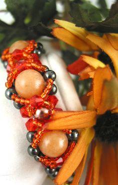 #cpromo Beaded bracelet Peach Aventurine Hematite Copper Gray and Orange seed beads