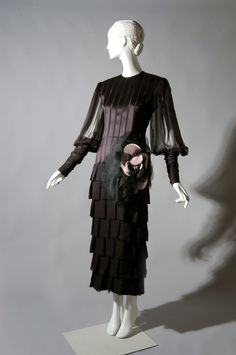 Evening Dress, Black silk chiffon, black satin ribbon, pink satin, James Galanos, 1970s