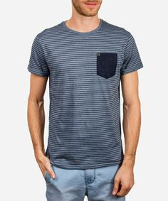 Jameson #Tee pairs well with any #bottom. You're going to be wearing this one on the Reg.  Yarn Dye #Striped Tee with Neppy Yarn and Patch #Pocket 60% #Cotton 40% Polyester Made in #India.  #Fashion #Menswear #Style #Shop #Shopping #Top #Collection #Label #Brand #Designer #Shirt #Appare #Male #Mens #Clothing #Clothes #tshirt #print #summer #spring