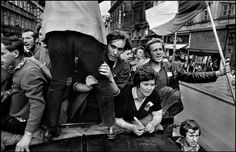 Photography by Josef Koudelka. The invasion by Warsaw Pact troops, August Prague Spring, Narrative Photography, Warsaw Pact, Elliott Erwitt, Sleeping Under The Stars, French Photographers, Magnum Photos, My Heritage, Women In History