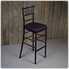 """Black Chiavari Bar Stool -  45 1/2"""" tall seat is 30"""" from the floor. Shown with a tie-on chair pad available in black, white and ivory-order separately. Micro suede or Topaz seat pad covers also available separately."""