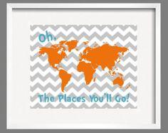 gray and orange baby boy nursery ideas - Google Search