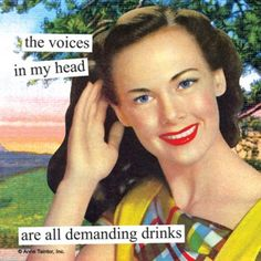 Napkins from Anne Taintor: the voices in my head are all demanding drinks