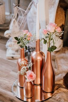 DIY Wedding Centerpieces – Copperlove Wedding decor Centerpiece Painted bottles - Decoration For Home Wedding Table Centerpieces, Diy Wedding Decorations, Centerpiece Decorations, Ceremony Decorations, Wine Bottle Centerpieces, Engagement Decorations, Engagement Parties, Wedding Bottles, Wedding Table Flowers