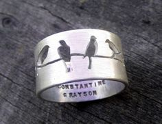 """Bague 'Birds on a wire"""""""