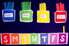 I think this felt reward chart is very clever. Felt rather than paper gives it a really 'special' element. The paddlepop sticks are genius – you get a paddle pop stick for every good behaviour. If you have X number of paddlepop sticks at the end of the we Weekly Chore Charts, Weekly Chores, Chore Chart Kids, Toddler Reward Chart, Chore Rewards, Chore List, Behavior Rewards, Responsibility Chart, Chore Board