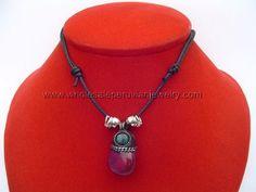 Purple Agate Stone Pendant Necklace  http://www.wholesaleperuvianjewelry.com