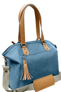 b056d79d01 Waterproof Blue Canvas Leather Trimmed Tote by TheYellowPacifier Boy Diaper  Bags
