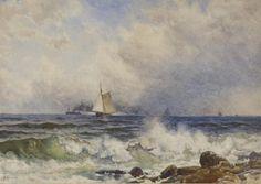 """Alfred Thompson Bricher (American, 1837-1908) """"Coastal Scene"""" 2nd half 19th century watercolor"""