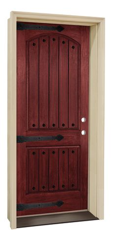Enhance your entryway with old-world charm by installing this stylish door from Mastercraft®. This fiberglass door features a realistic wood grain coated in a Rich Red Mahogany Finish. And, with its unique planked styling and decorative exterior clavos and hinge straps, this door looks like it came directly from the renaissance.