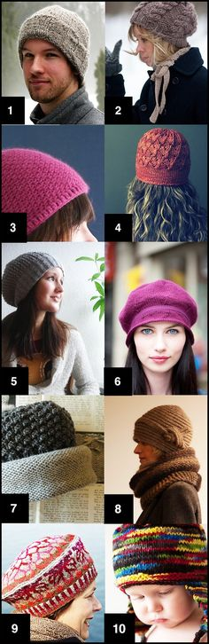 Ten free hat patterns.  LOVE!!!!