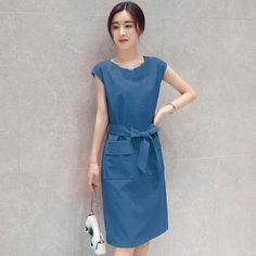 Elegance Slim Women Dress Korea Style Summer Fashion Cotton Linen Short Knee Length Dress Hight Waist Solid Casual Lady A-line