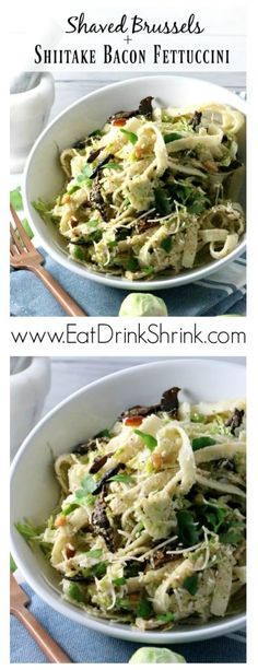 Shaved Brussels & Shiitake Bacon Fettuccine with Cashew Cream